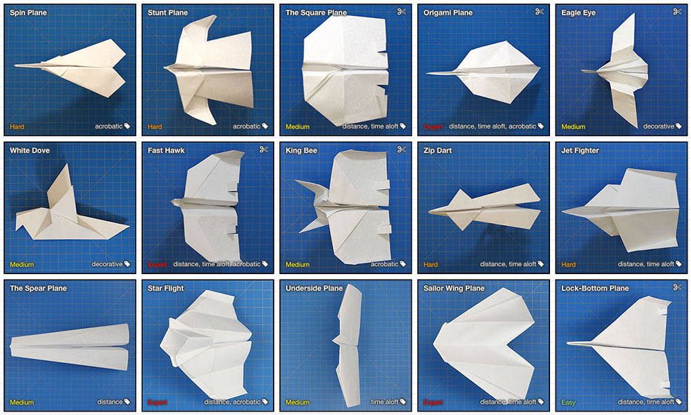 La base de datos de los aviones de papel y su construcción paso a paso
