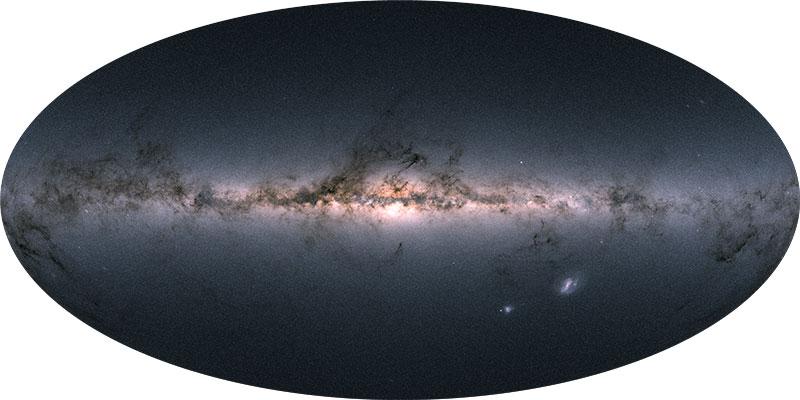 Una imagen que muestra el brillo de las estrellas observadas por Gaia