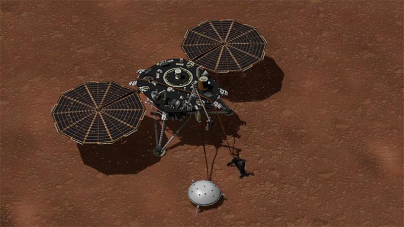 InSight sobre Marte con sus instrumentos desplegados