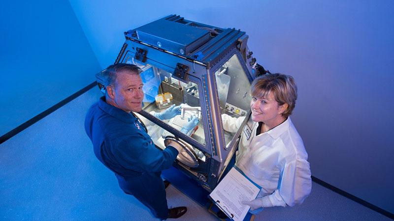 La caja de guantes durante sus pruebas en Tierra