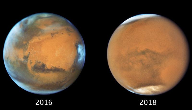 Marte en oposición en 2016 y 2018