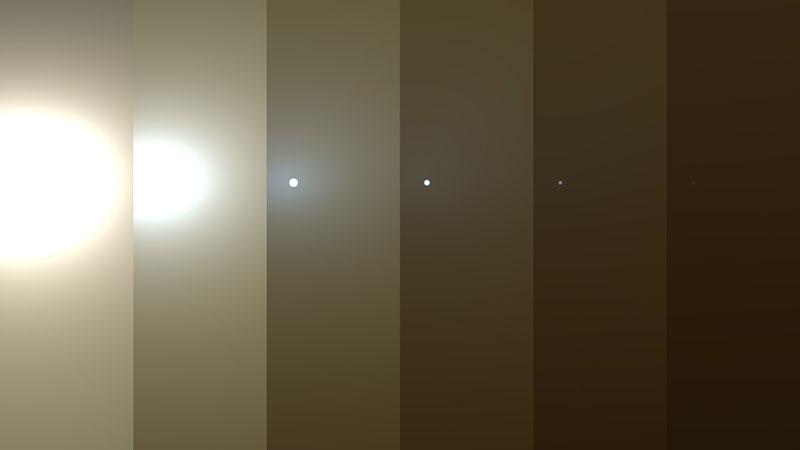 Simulación de cómo se ha ido oscureciendo el cielo para Opportunity