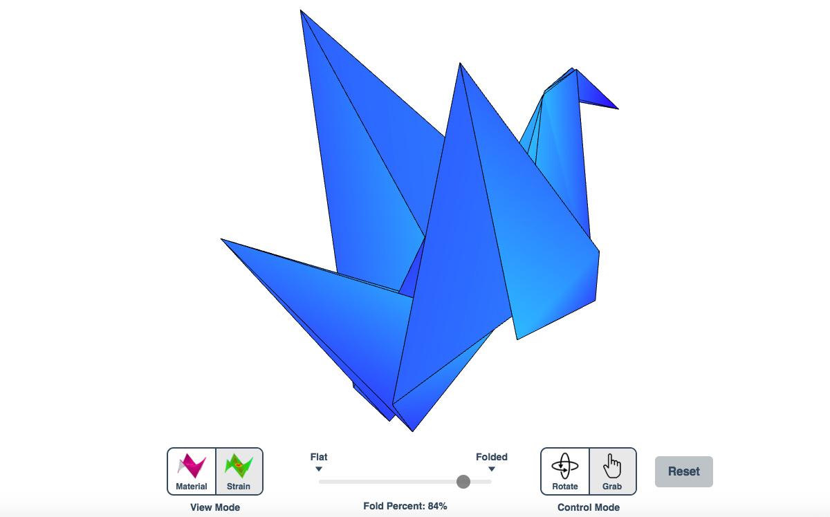Un simulador de origami para probar cómo se pliegan y despliegan todo tipo de figuras y patrones en papel con dobleces