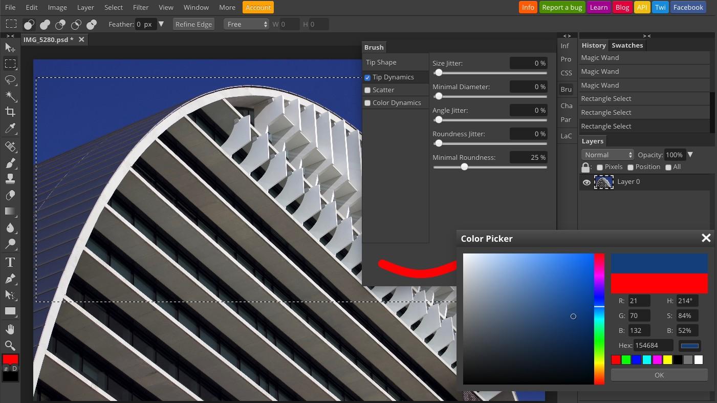 Photopea es un clon de Photoshop ágil y práctico, pero en línea y además con versión gratuita