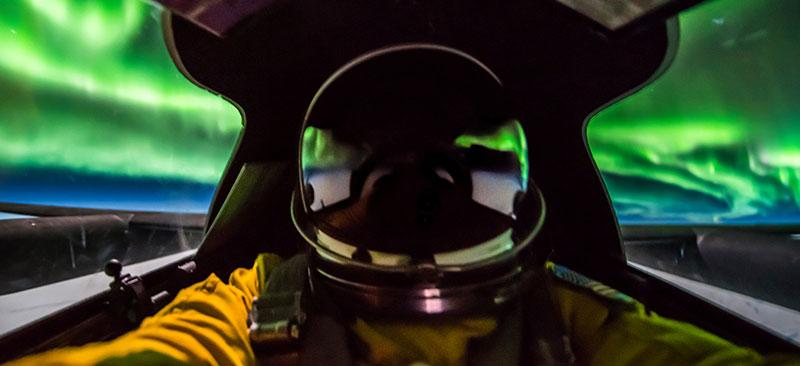 La aurora desde la cabina del U2