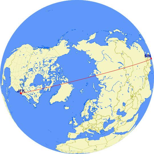 Singapur - Nueva York por la vía más rápida