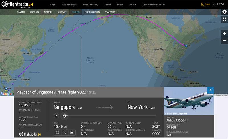 El SQ22 en FlightRadar24