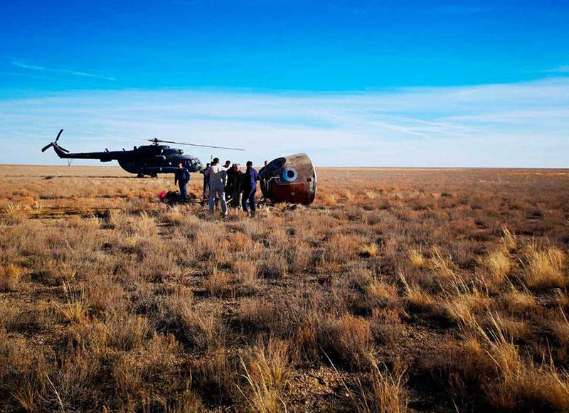 La Soyuz MS-10 tras su aterrizaje de emergencia
