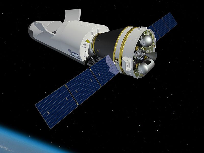 Impresión artística del Space Rider en órbita