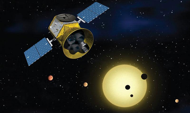 Impresión artística de TESS en órbita