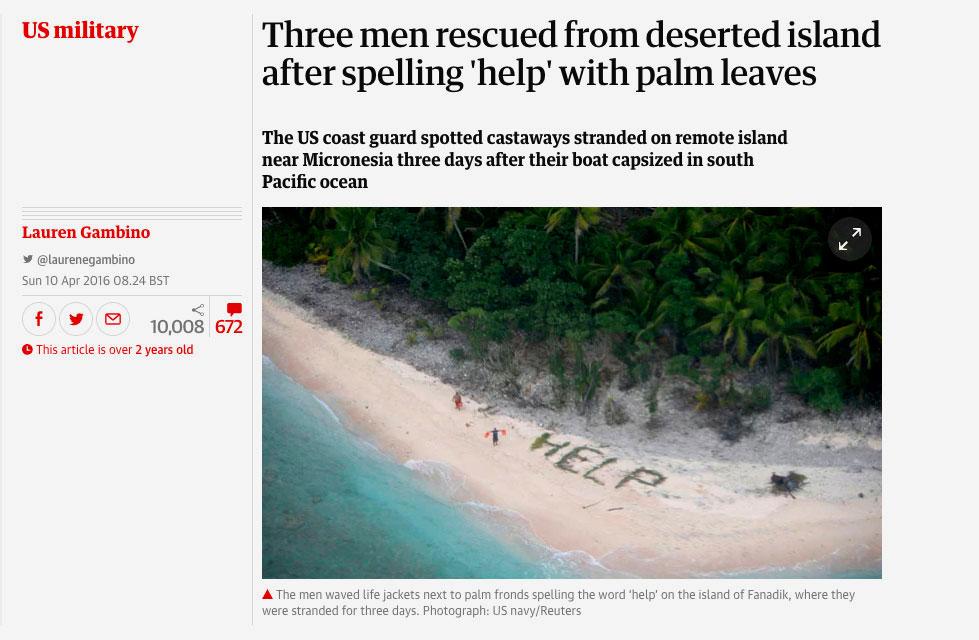 Isla desierta HELP / US Navy
