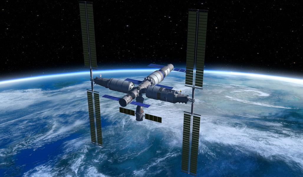 Impresión artística de la estación completa en órbita - CNSA