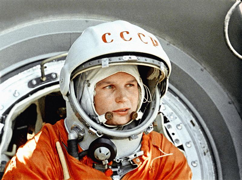 Valentina Tereshkova antes de su lanzamiento