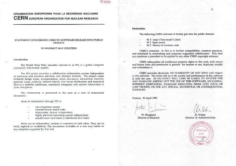 Documento que deja la web en el dominio público