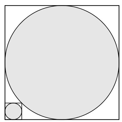 Un problema geométrico de círculos, cuadrados y un área / SolveMyMaths.com