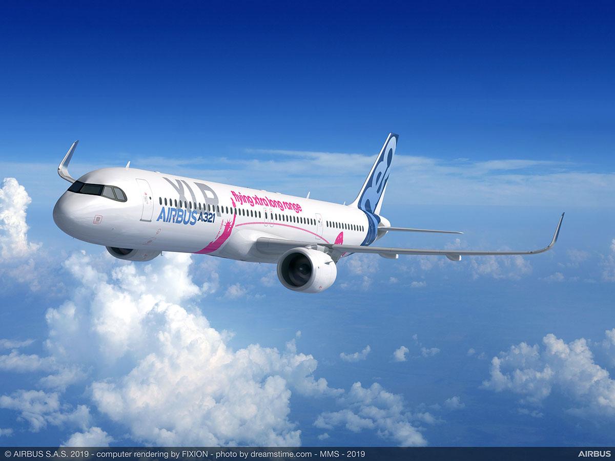 Impresión artística de un A321XLR en vuelo