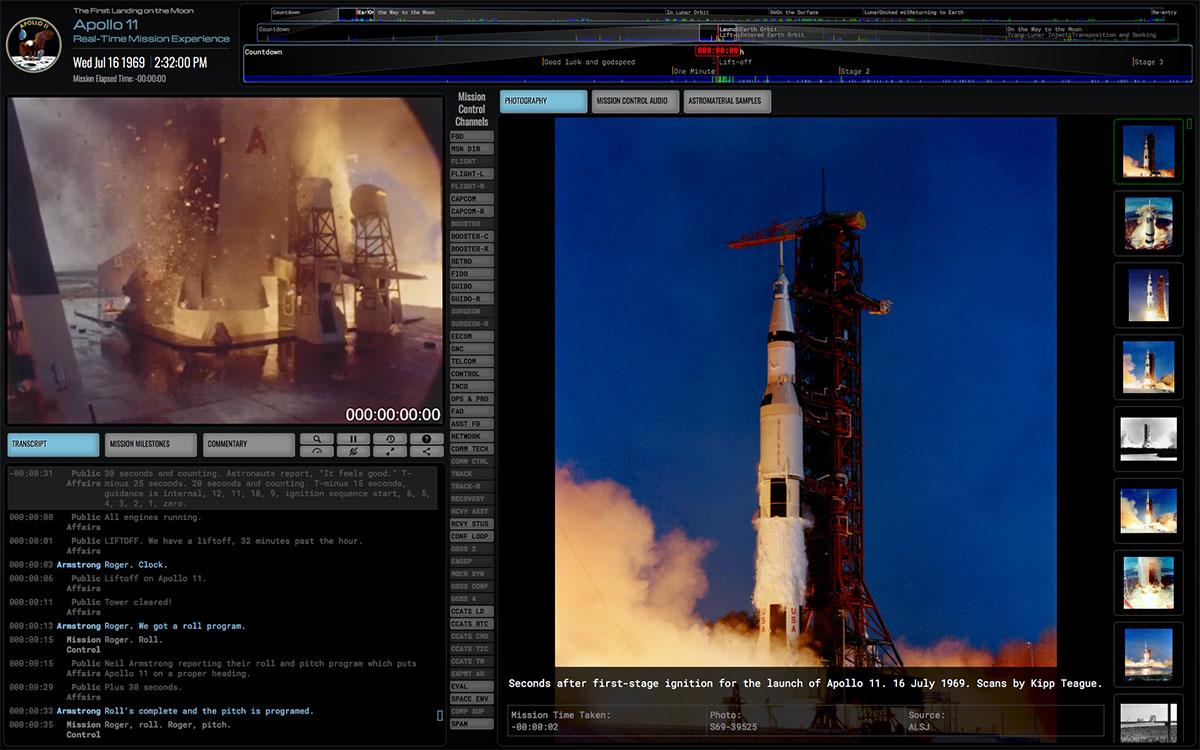 Captura de pantalla de la web de Apolo 11 en tiempo real