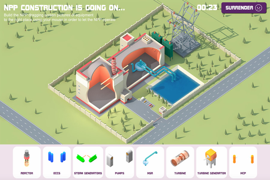 Construir una central nuclear, el juego