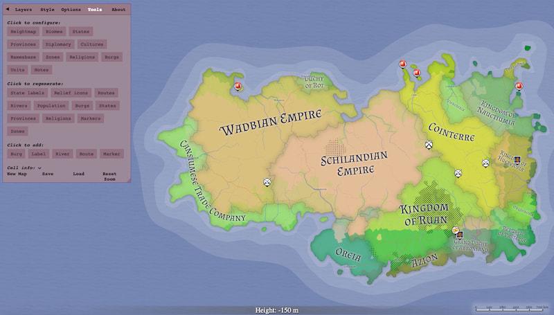 Azgaar: Generador de mapas de mundos de fantasía