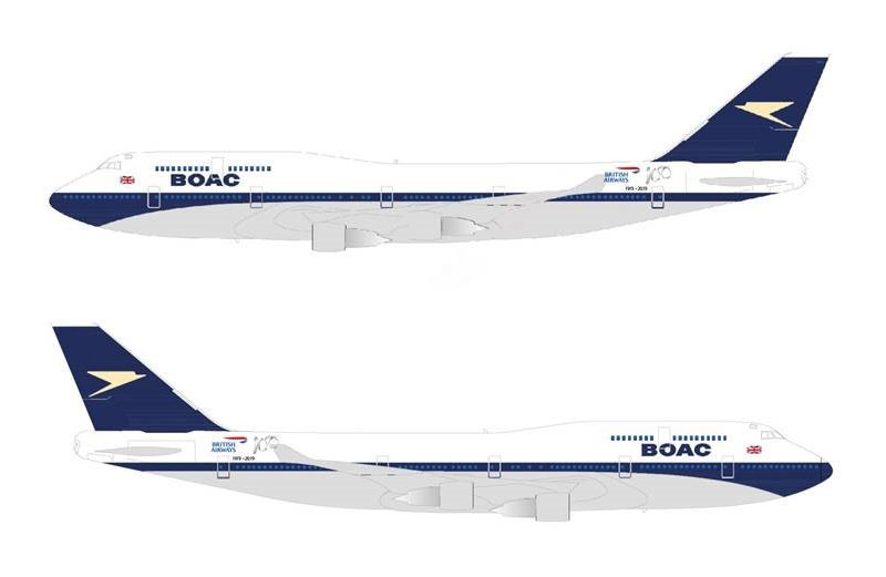 Boeing 747 de British Airways con librea de BOAC