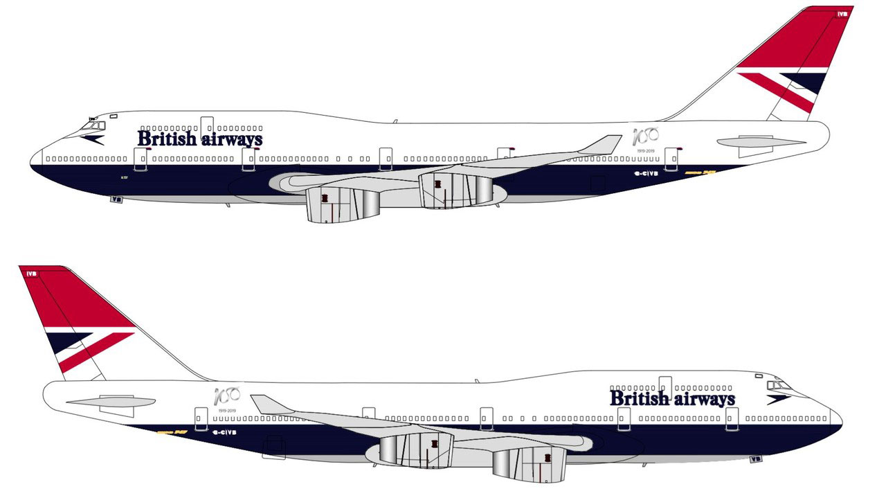 Boeing 747 de British Airways con la librea Negus