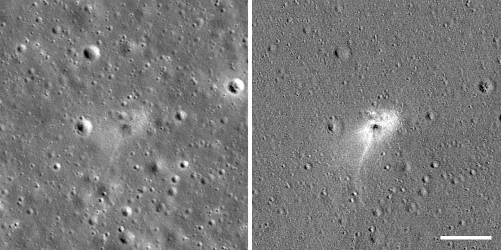 Impacto del Beresheet visto por la LRO de la NASA