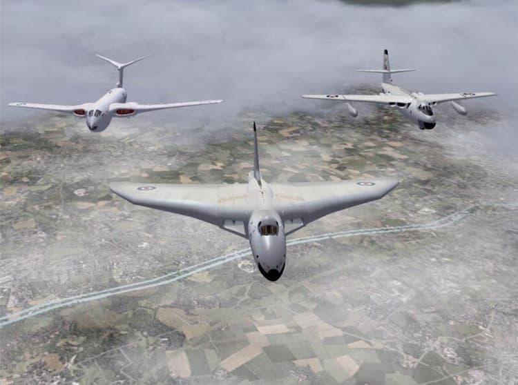 Victor, Vulcan y Valiant en vuelo