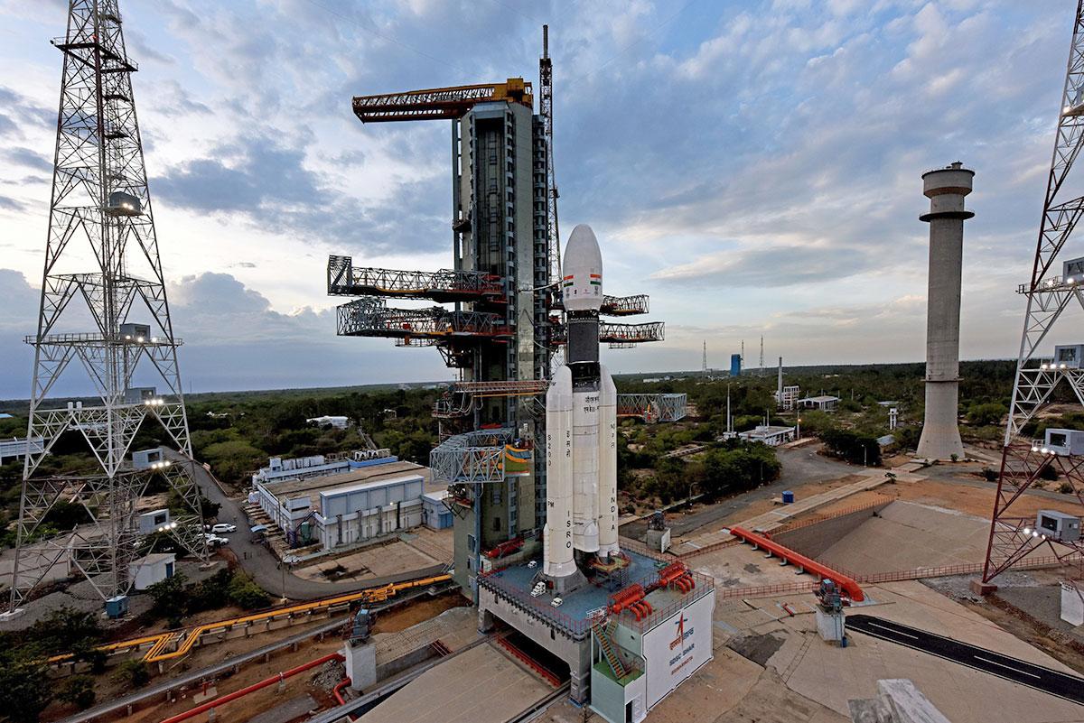 El cohete lanzador de Chandrayaan-2