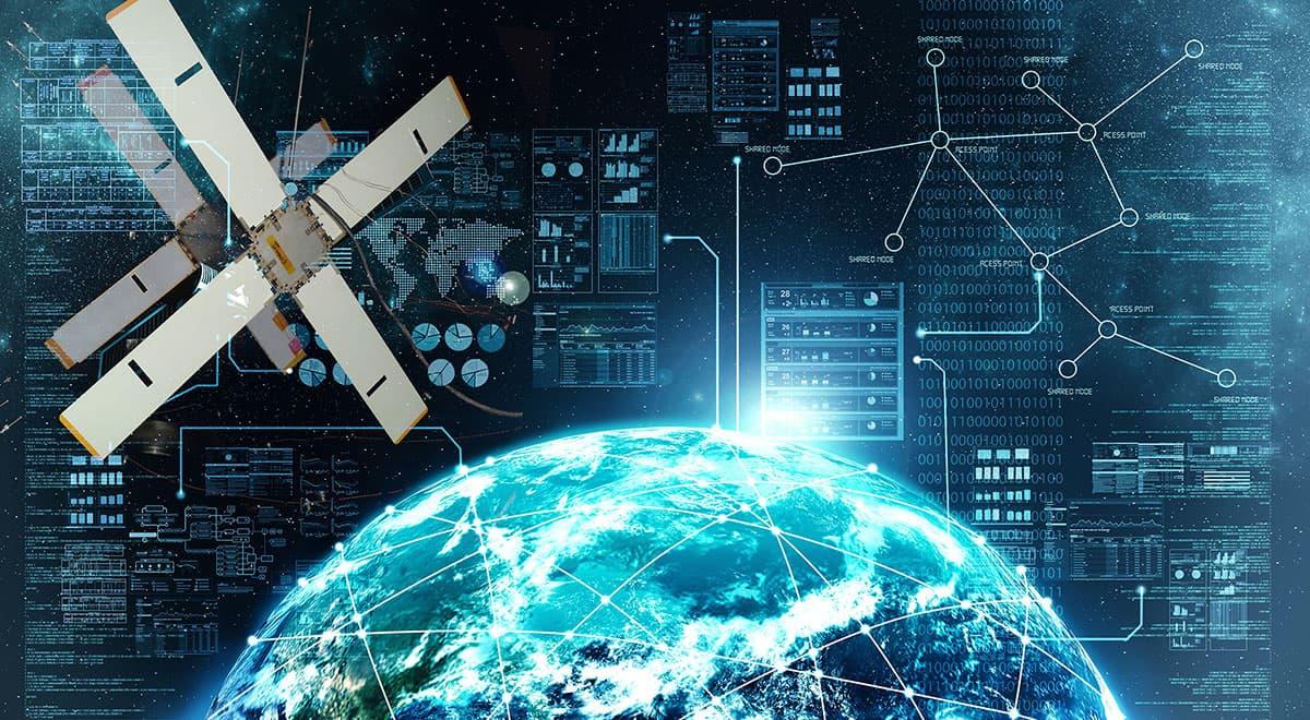 Imgen conceptual de una constelación de satélites