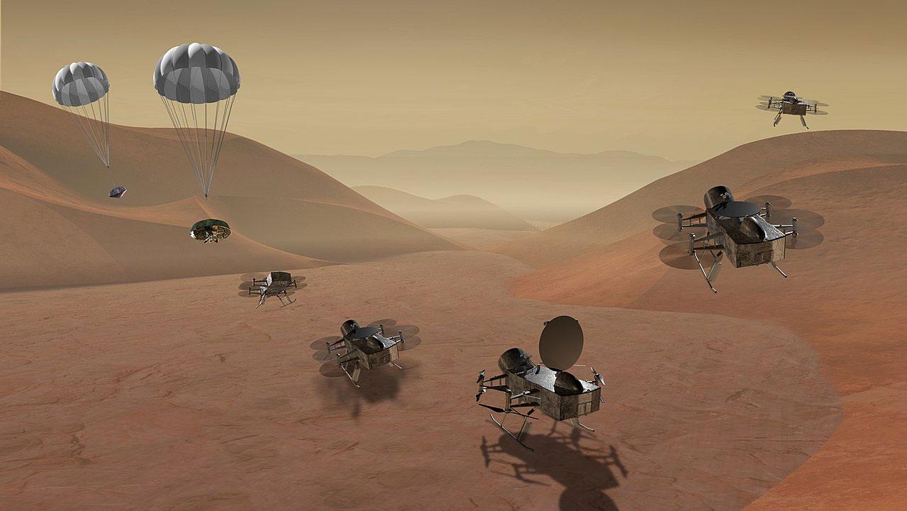 Impresión artística de Dragonfly «aciendo la cencia» en Titán