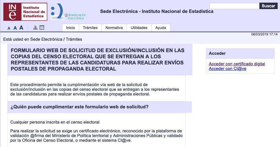 Formulario inclusión/exclusión en copias del censo electoral