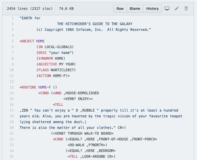 código fuente de La Guía del autoestopista galáctico y otros juegos de Infocom