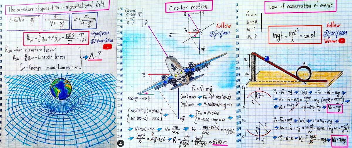 Los artísticos y coloridos apuntes de física de Yuri Kovalenok