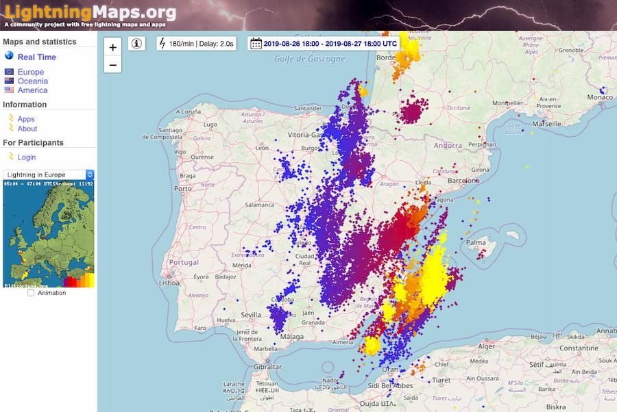 LightningMaps: mapas de rayos en tiempo real