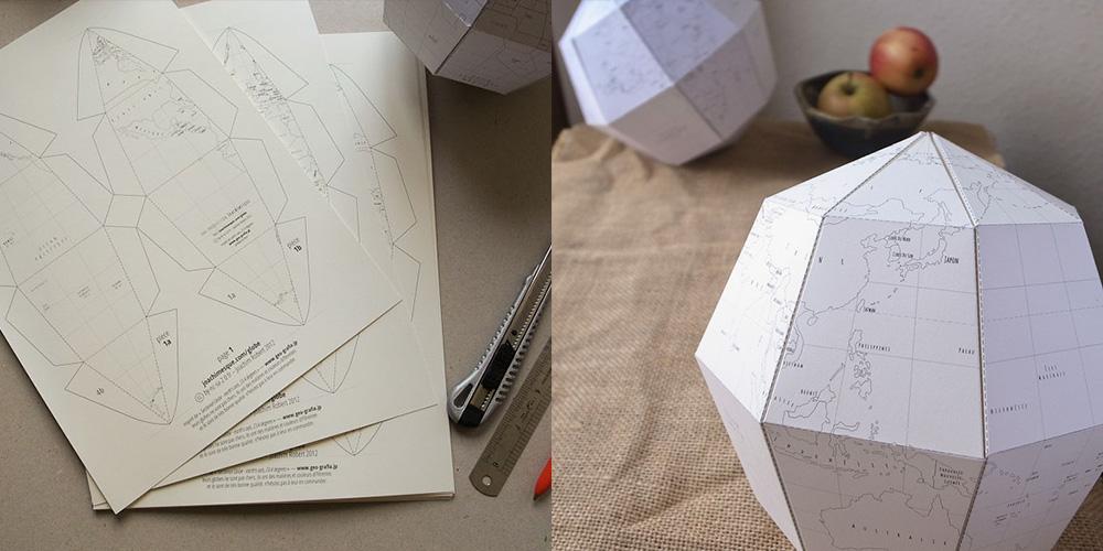 Le Paper Globe, un bonito recortable con forma de peculiar globo terráqueo