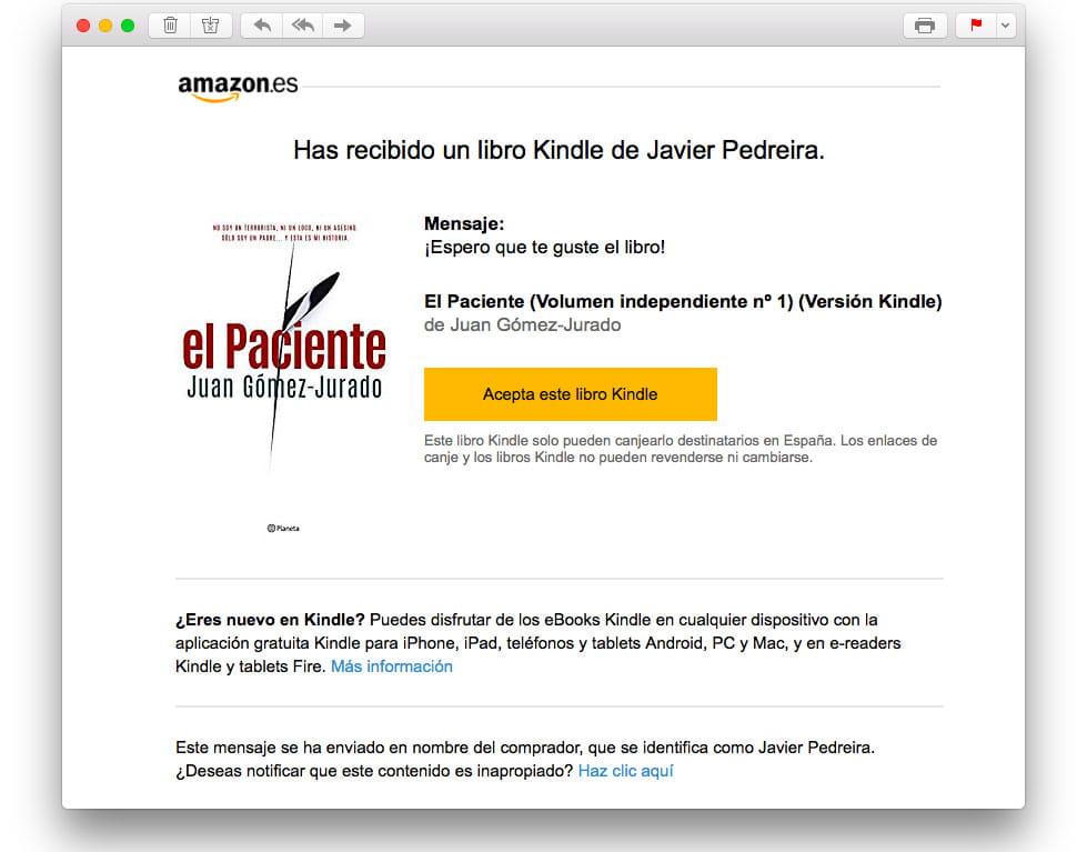 Te han regalado un libro en formato Kindle