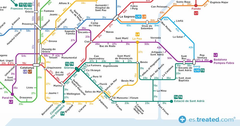 Un mapa del metro que indica las calorías que consumirías de hacer el recorrido andando