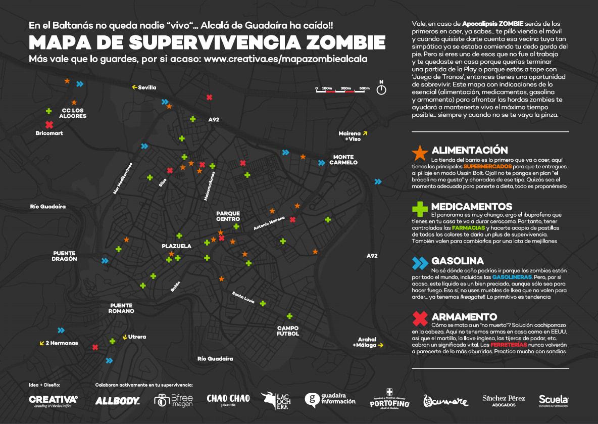 Un mapa de supervivencia zombie para Alcalá de Guadaíra, Sevilla
