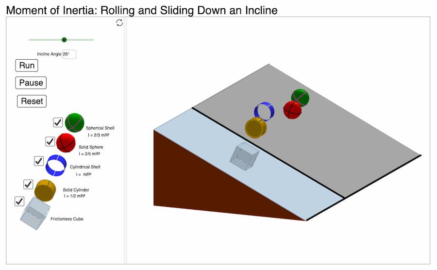Simulación: momento de inercia en un plano inclinado