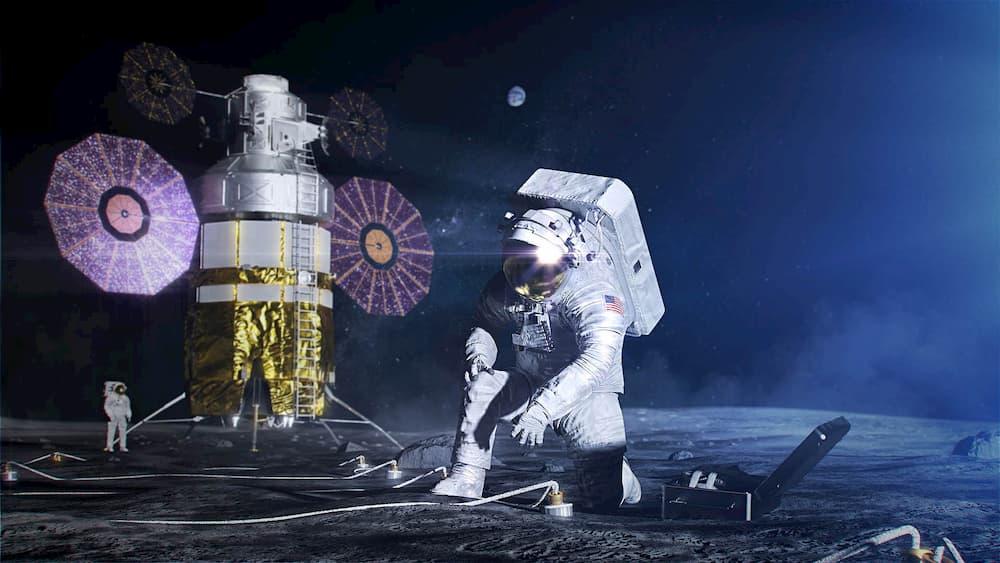 Impresión artística de un astronauta de la NASA en la Luna en una misión Artemisa
