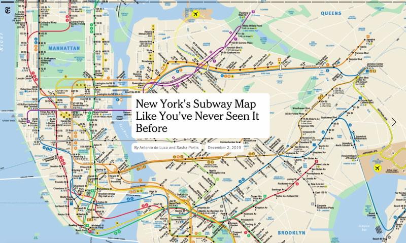 El mapa del Metro de Nueva York visto en una magnífica presentación interactiva / New York Times