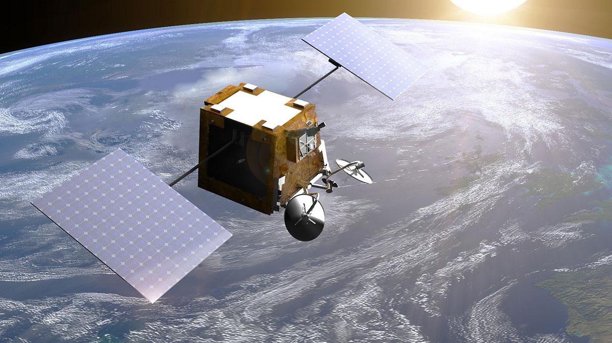 Impresión artística de un satélite OneWeb en órbita