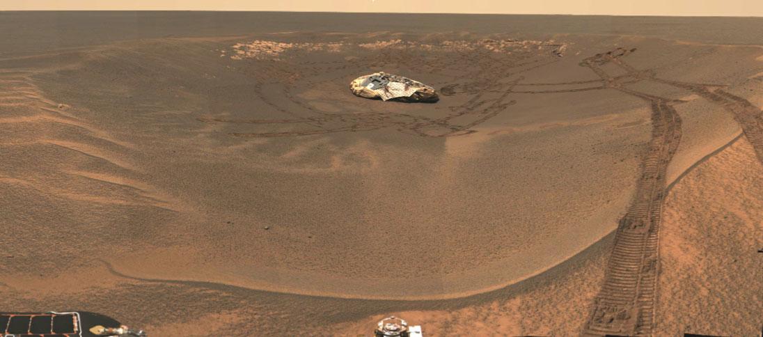 Vista del cráter en el que aterrizó Opportunity