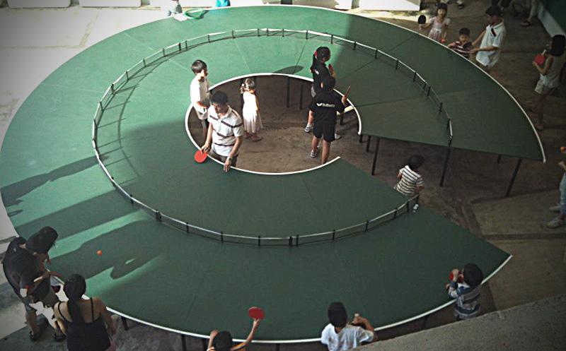 Mesa de ping-pong cilíndrica