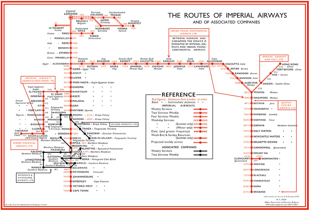 Routes of Imperial Airways / recreación de Max Roberts / TubeMapCentral.com