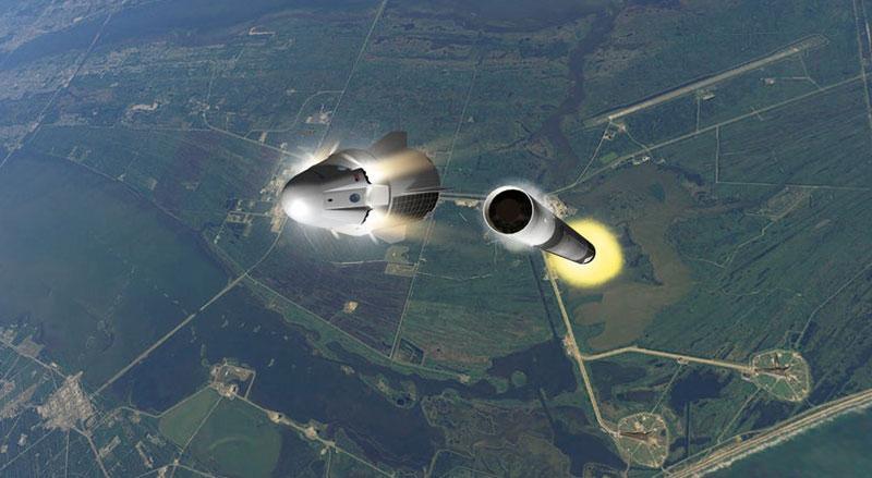 Impresión artística de la prueba en vuelo del sistema de escape
