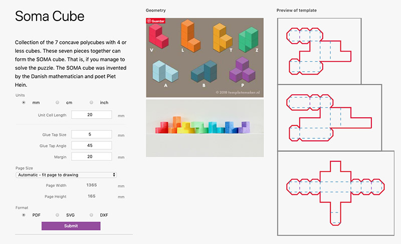 Plantillas para fabricar un Cubo Soma / Template Maker