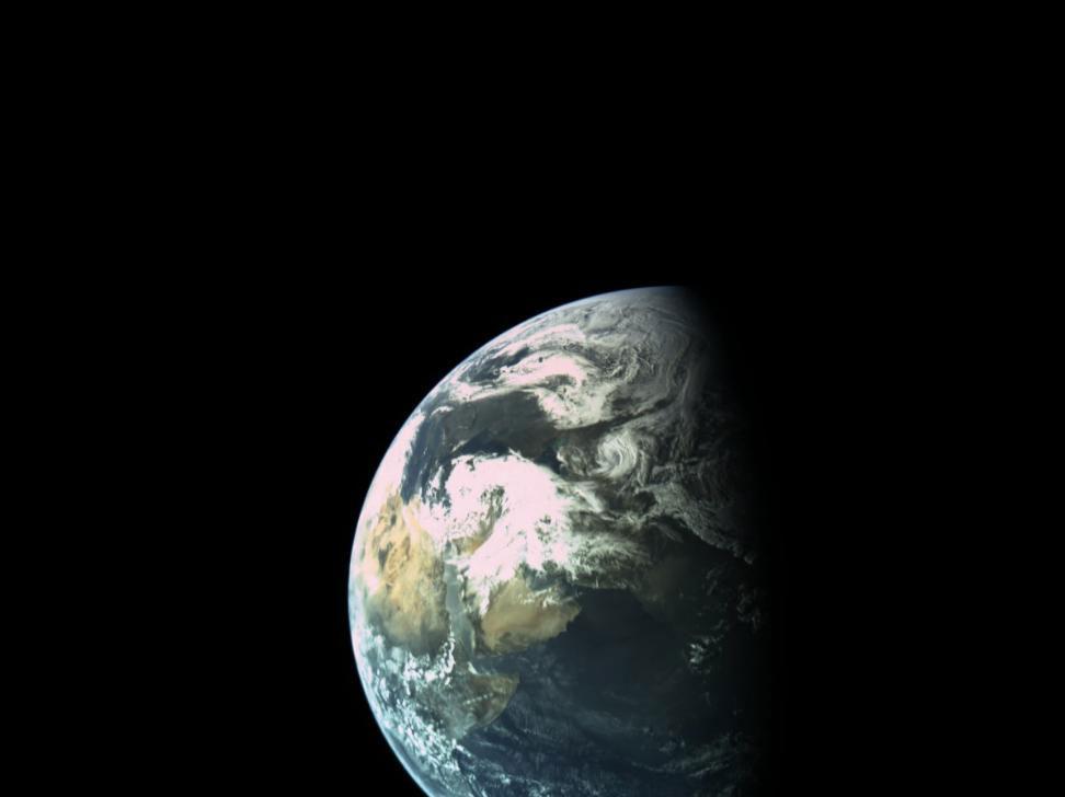 La Tierra vista por Beresheet el 30 de marzo de 2019