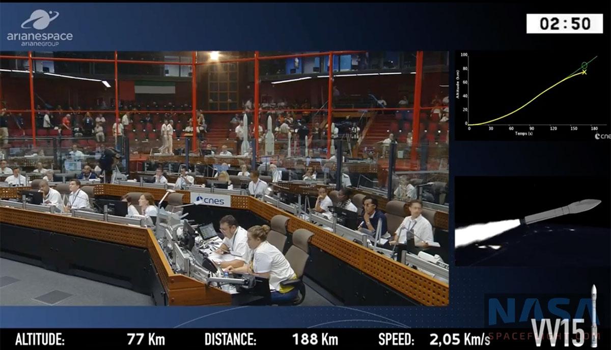 Captura de pantalla de la emisión del lanzamiento