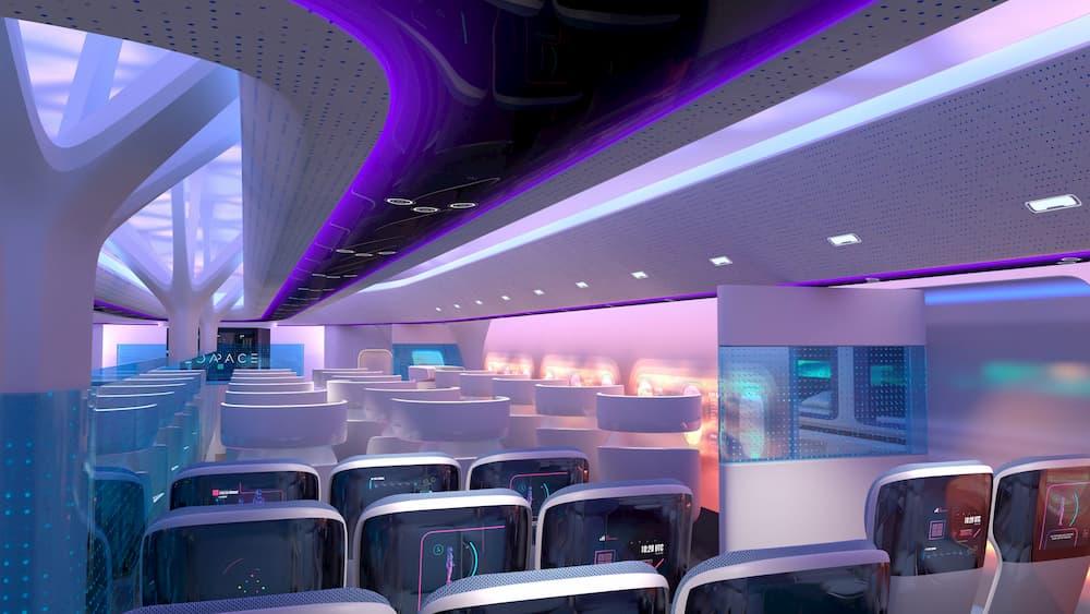 Impresión artística de la cabina de pasajeros de un avión de este estilo – Airbus